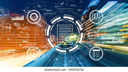 抽象的な高速テクノロジモーションブラーによるコンプライアンスのコンセプト