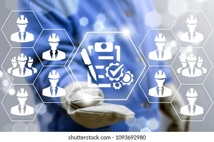 Compliance Industrial concept. Compliant Construction Building Architecture Development Teamwork. Industry worker offers checklist with pen and gears check mark icon on a virtual screen.