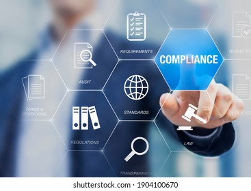 Compliance to Standards, Regulations, and Requirements to pass audit and manage quality control. Concept about conformity with manager or auditor pressing buttons with icons.