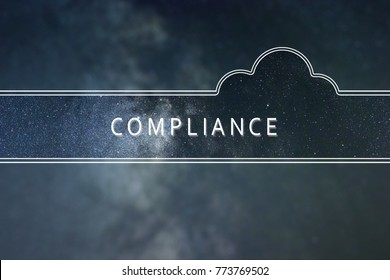 COMPLIANCE word cloud Concept. Space background.