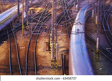 Complicated rail network. Prague Main Railway Station, The Czech Republic.