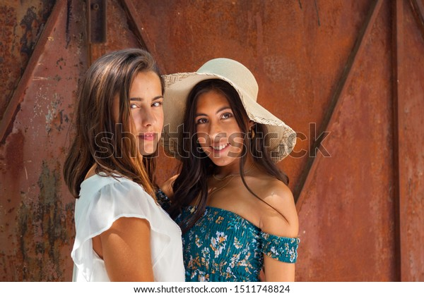 Complicity Two Friends Girls On Garden Stock Photo Edit Now 1511748824