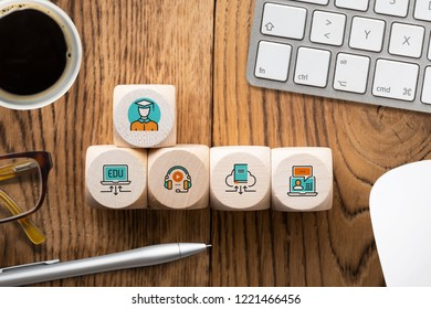 components of digital learning as icons on cubes