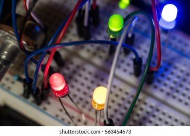 components of electronic devices and luminous LEDs