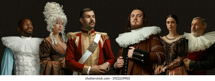 Composed and confident. Medieval people as a royalty persons in vintage clothing on dark background. Concept of comparison of eras, modernity and renaissance, baroque style. Creative collage. Flyer - Shutterstock ID 1922219903