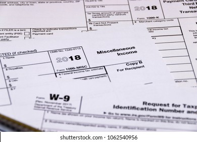 Composed shot of IRS tax forms 1099-MISC, 1099-K and W-9.
