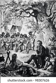 """Composer Franz Schubert writes the melodies of the Hungarian Gypsies. Engraving by Bong  from picture by Mert. Published in magazine """"Niva"""", publishing house A.F. Marx, St. Petersburg, Russia, 1888"""