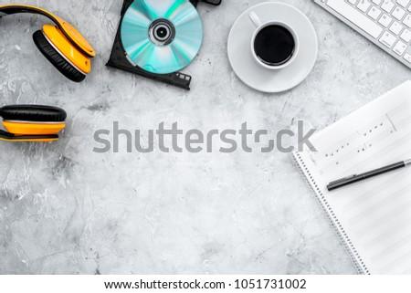 Composer Song Writer Desktop Headphones Notes Stock Photo (Edit Now