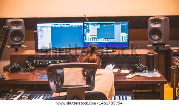 Composers desk in audio recording studio