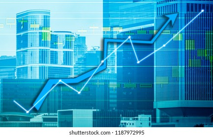Composing with business building and stock chart background (blue bull chart)