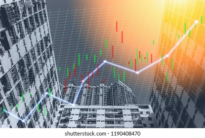 Composing with business building and stock chart (blue bull chart on background )