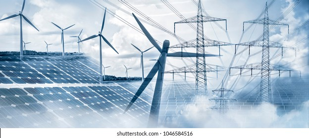 Composing with wind turbines, solar panels and electricity pylons