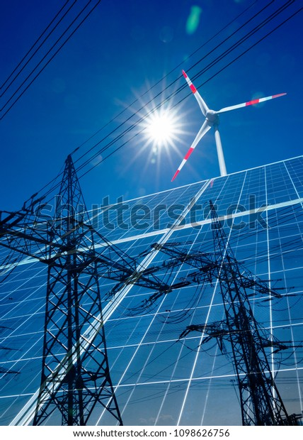 Composing from wind turbine,solar panels and high voltage pylon with power line