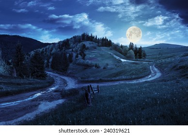 composite autumn landscape. fence near the cross road on hillside meadow in mountains. few fir trees of forest  on both sides of the road at night in full moon light