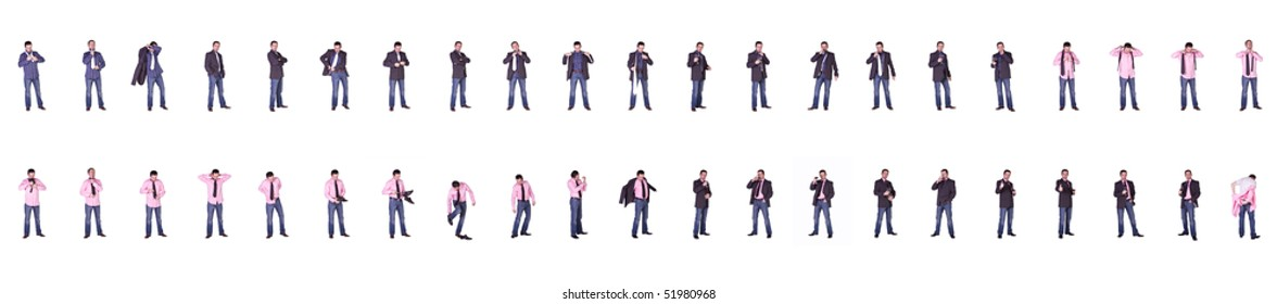Composite Collection of a Businessman in Various Multiple Positions