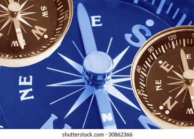 Composite of Compasses in Warm and Blue tone