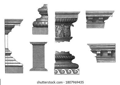 Composite details, 1620 Details of the Composite construction order: cornice, base, pedestal, main frame and column, vintage engraving.
