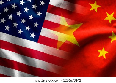 Composite of the flags of The Peoples Republic of China and the Stars and Stripes of the United States of America