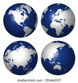 COMPOSITE OF FOUR GLOBES SHOWING CONTINENTS