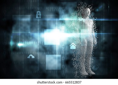Composite gray pixelated 3d man against black technology interface with glow