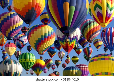 Composite of hot air balloons at the New Jersey Ballooning Festival in Whitehouse Station, New Jersey