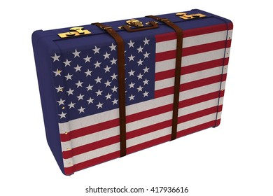 Composite image of american suitcase on a white background