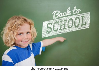 Composite image of back to school message against cute pupil pointing