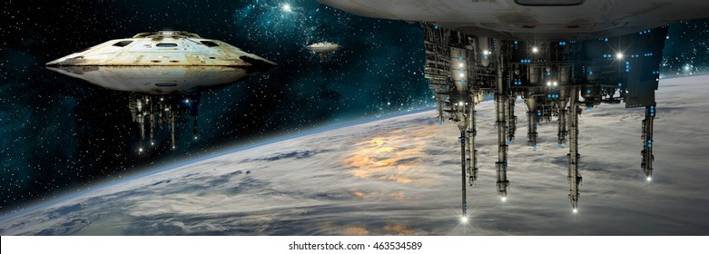 A composite image depicting a fleet of massive spaceships known as motherships taking position over Earth for a coming invasion.  Elements of this image furnished by NASA.