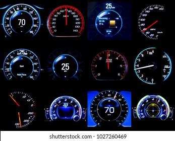 Composite image of dozen modern light car mileage (dashboard, milage, speedometer) isolated on a black background. New display of a modern car.