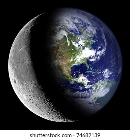 Composite image of the Earth and the Moon.