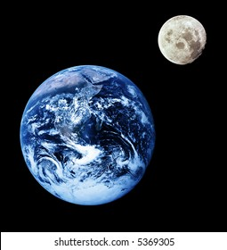 Composite image of earth and moon. Moon orbiting earth. Source images courtesy of NASA