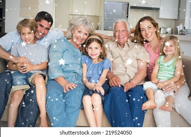 Composite image of Family spending leisure time against snow