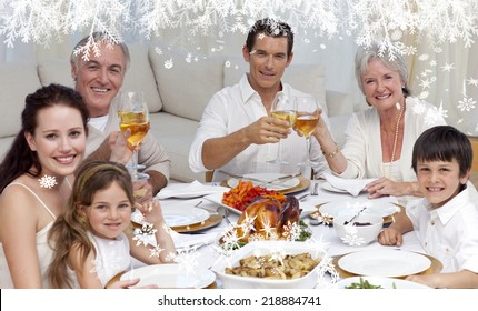 Composite image of a Family tusting with wine in a dinner smiling at the camera against frost