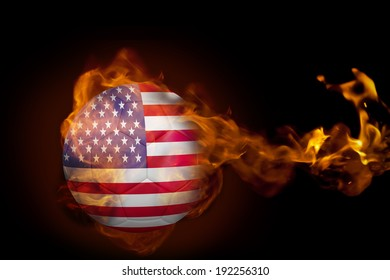 Composite image of fire surrounding usa ball against black