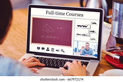 Composite image of full-time courses against woman using laptop at office