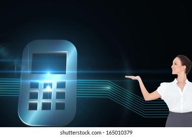 Composite image of happy elegant businesswoman posing