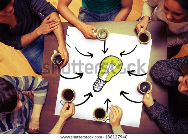 Composite image of idea doodle on page with people sitting around table drinking coffee