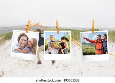 Composite image of instant photos hanging on a line against little boy on the beach