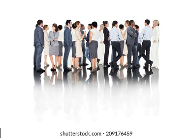 Composite image of many business people standing in a line on white background