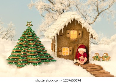 Composite image of a newborn baby in front of a christmas gingerbread house in a snow landscape