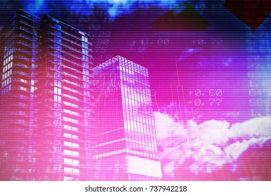 Composite image of3d office buildings against stocks and shares