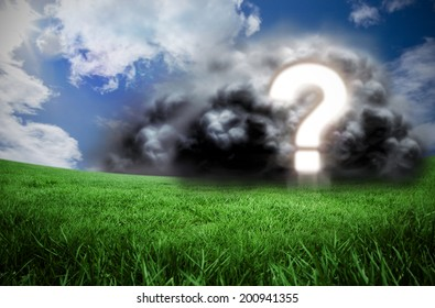 Composite image of question mark in cloud against green field under blue sky