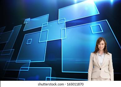 Composite image of smiling brunette businesswoman walking
