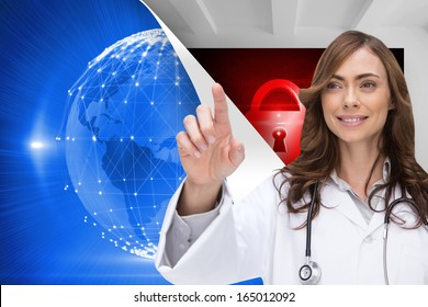 Composite image of smiling brunette doctor pointing