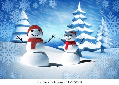 Composite image of snow man family against blue sky