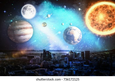 Composite image of solar system against white background against city in 3d
