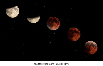 Composite image of the stages of a total lunar eclipse.