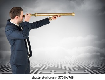 Composite images of businessman standing on maze looking through telescope