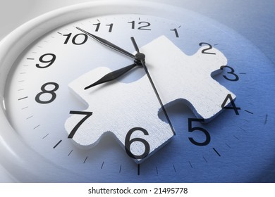 Composite of Jigsaw Puzzle and Clock