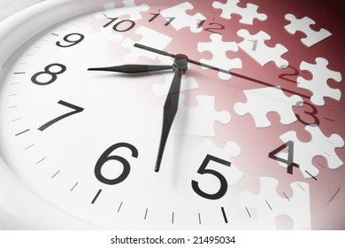 Composite of Jigsaw Puzzles and Clock